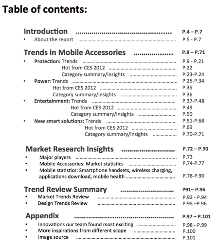 new table of contents2 Trends and Innovations in Mobile Accessories